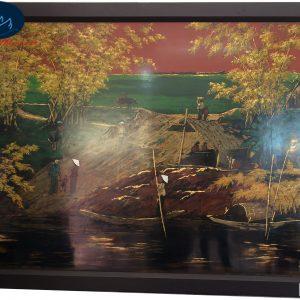 Tranh Sơn Mài Phong Cảnh Bến Đò Sông Quê MT-015