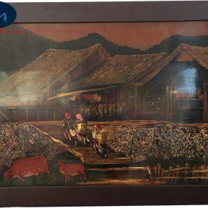 Tranh Sơn Mài Phong Cảnh Nhà Sàn Dân Tộc Việt Nam MT-014